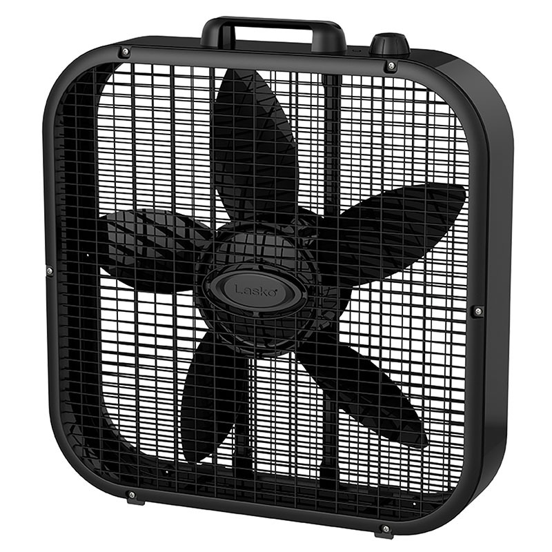 front view of Lasko Dècor Colors 20″ Box Fan - Black model b20401