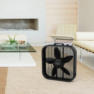 lasko Dècor Colors 20″ Box Fan - Black model b20401 in living room