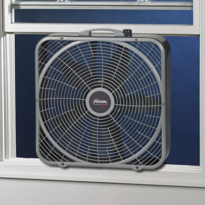 "lasko 20"" Power Plus Box Fan model b20540 in window"