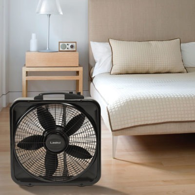 Lasko 20″ Weather-Shield® Select Box Fan with Thermostat model B20570 in bedroom