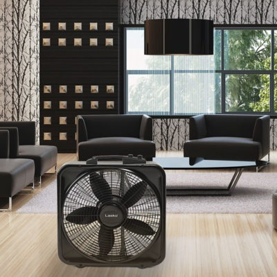 Lasko 20″ Weather-Shield® Select Box Fan with Thermostat model B20570 in luxury living room