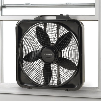 Lasko 20″ Weather-Shield® Select Box Fan with Thermostat model B20570 in window
