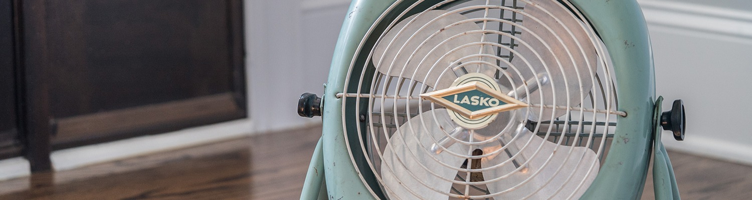 Lasko fan on hard wood floor