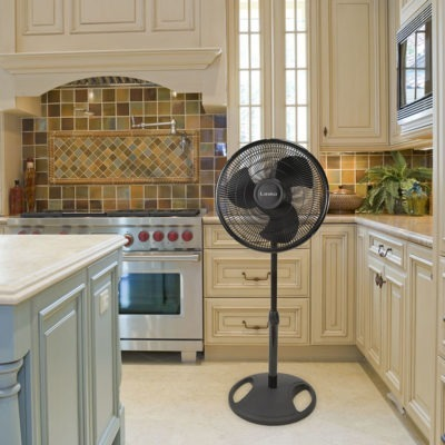 lasko 16″ Oscillating Stand Fan - Black model s16500 in kitchen