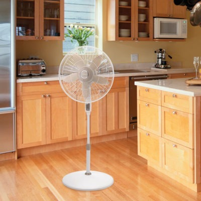 Lasko 18″ Remote Control Pedestal Fan model S18300 in kitchen