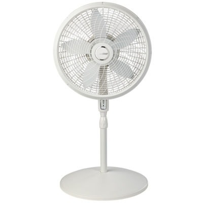 short height of Lasko 18″ 4 Speed Cyclone® Pedestal Fan with Remote Control model S18355