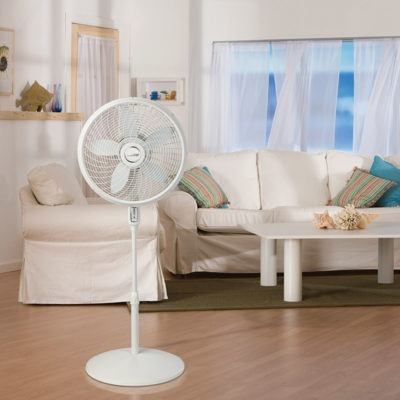 lasko 18″ 4 Speed Cyclone® Pedestal Fan with Remote Control model S18355 in living room