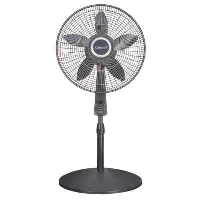 shortened Lasko 18″ Pedestal Fan with Remote Oscillation and Thermostat model s18965
