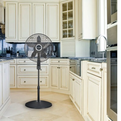 Lasko 18″ Pedestal Fan with Remote Oscillation and Thermostat model s18965 in kitchen