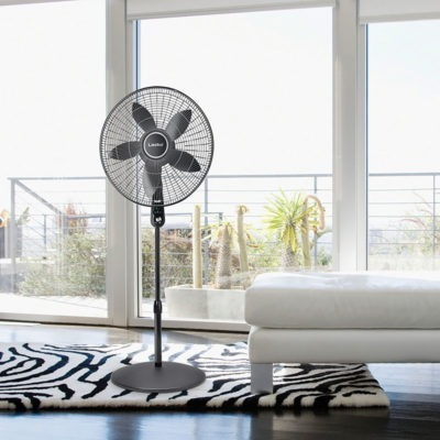 "lasko 20"" Oscillating Remote Control Pedestal Fan model S20610 in bedroom"
