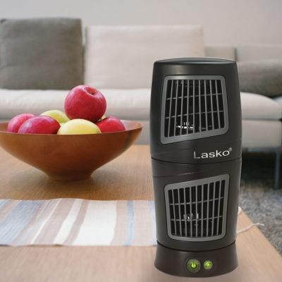 lasko Twist-Top™ Tower Fan model T12110 in living room