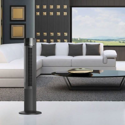 Lasko 5-Speed Wind Curve® Tower Fan with Ionizer model T42915 in living room