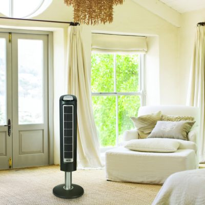 Lasko Remote Control Wind Tower Fan Model 2519 in Living Room