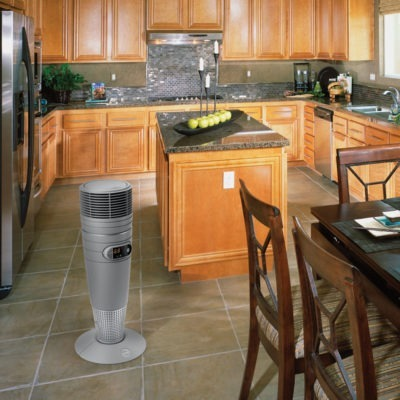 Lasko Full Circle Warmth Ceramic Heater with Remote Control Model 6462 in a well lit kitchen