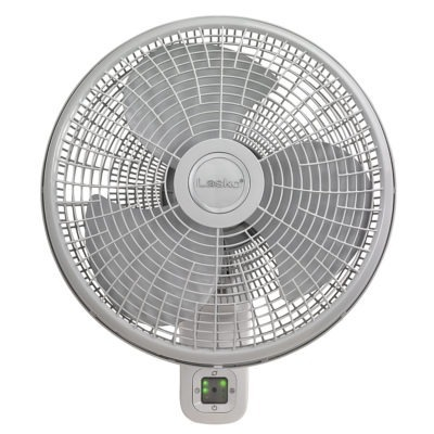 Front view of Lasko Oscillating Wall Mount Fan with 3 Speeds and Remote Control Model M16950