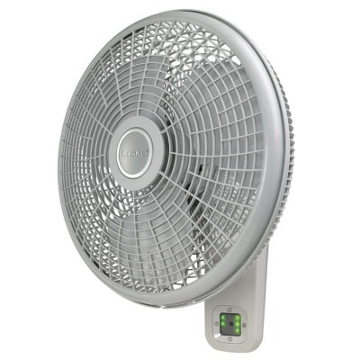 Side View of Lasko Oscillating Wall Mount Fan with 3 Speeds and Remote Control Model M16950