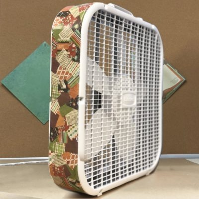 Lasko box fan decorated with colorful decoupage