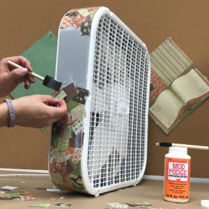 Lasko box fan makeover with decoupage - step 2