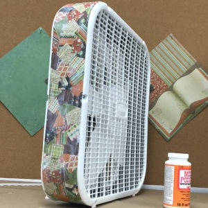 box fan makeover with decoupage - step 3