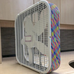 Lasko box fan makeover decorated with washi tape