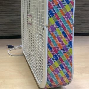 lasko box fan makeover with washi tape - step 3