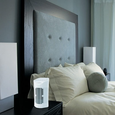 Lasko Desktop Air Purifier with 3-Stage Air Cleaning System Model HF11200 in Bedroom