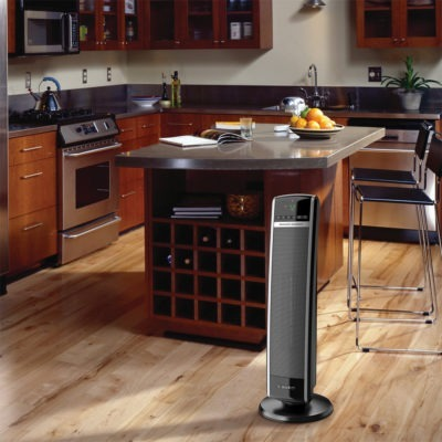 Lasko Digital Ceramic Tower Heater with Remote Control Model CT30754 in Modern Kitchen