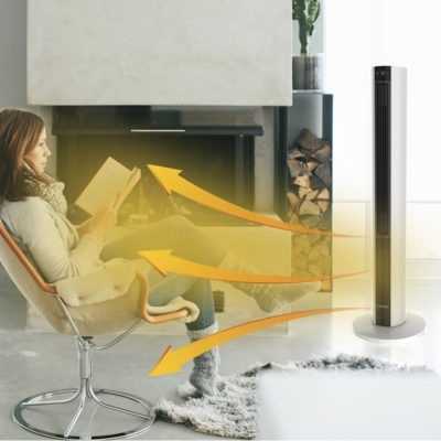 Woman reading near Lasko FH500 Tower Fan & Heater