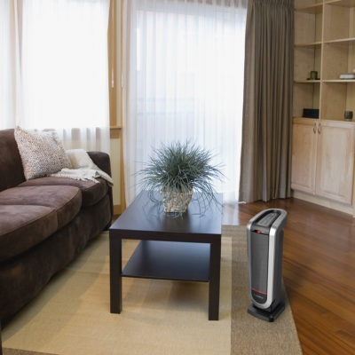 Lasko Ceramic Tower Heater with AutoEco Technology and Remote Model CT22425 in Living Room