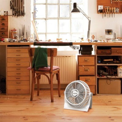 workshop with Lasko white Breese Machine fan