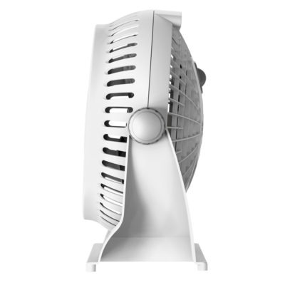 side view of Lasko white Breeze Machine fan, model 508