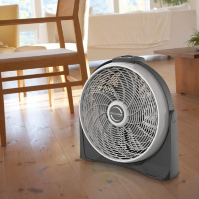 Lasko Cyclone Power Air Circulator Fan, model A20566, in living room