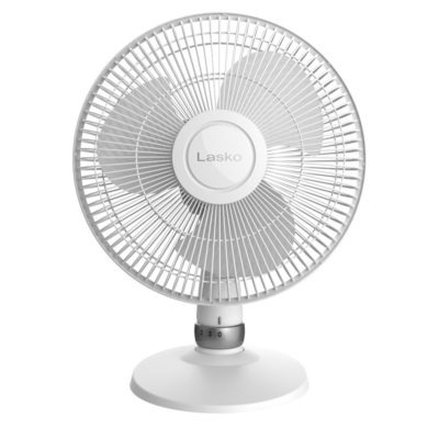 front view Lasko White Performance Table Fan, model D12225