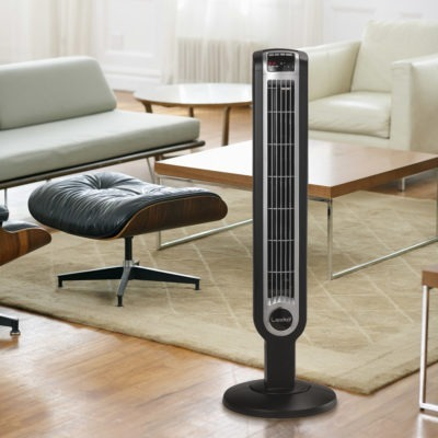 Lasko Oscillating Tower Fan T36205 in living room