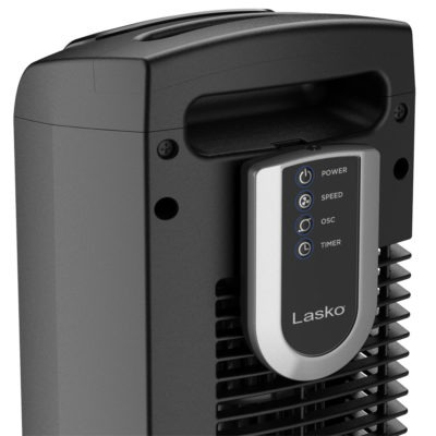 handle with remote storage on Lasko Oscillating Tower Fan with Remote, model T36211