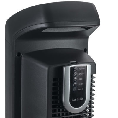 handle and remote on Lasko High-Reaching Tower Fan, model T42552