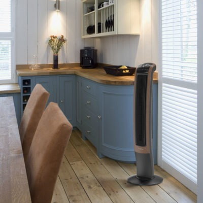 Lasko Wind Curve Tower Fan with Bluetooth T42905 in Kitchen