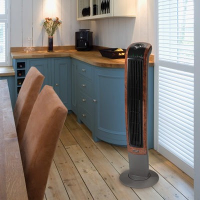 Lasko Wind Curve Oscillating Tower Fan with Remote model T42964 in Kitchen