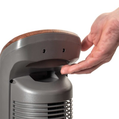 handle of Lasko Wind Curve® Oscillating Tower Fan with Remote model T42964