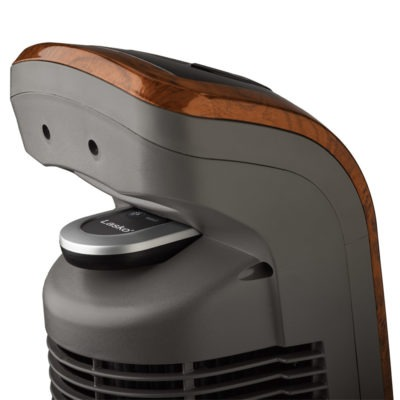 remote in storage area on Lasko Wind Curve Oscillating Tower Fan with Remote, model T42964