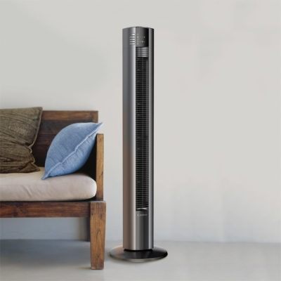 Entryway with wooden bench and Lasko Tower Fan model T48312