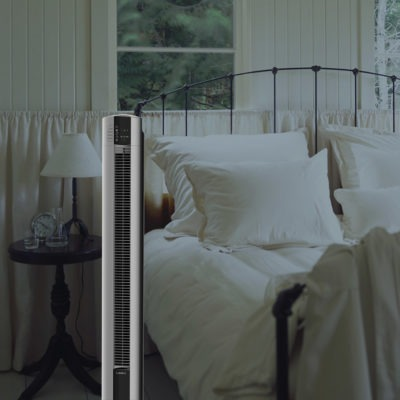Bedroom with Lasko tower fan T48314 with Nighttime Setting