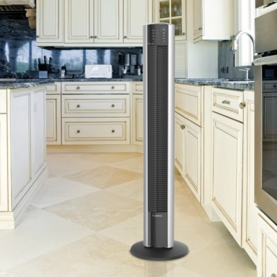 Lasko Tower Fan, model T48332 in white kitchen