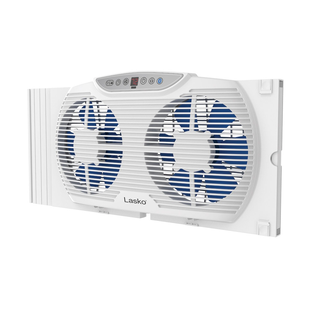 Electrically Reversible Twin Window Fan with Bluetooth, model W09560