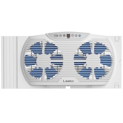 front view of Electrically Reversible Twin Window Fan with Bluetooth, model W09560