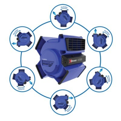 diagram showing 6 position options for Lasko X-Blower Multi-Position Utility Blower Fan, model X12905