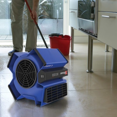 Lasko X-Blower Multi-Position Utility Blower Fan drying wet kitchen floor