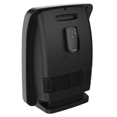 Lasko Ceramic Safe Power+ Whole Room Heater, Model CC18306, Back with remote attached