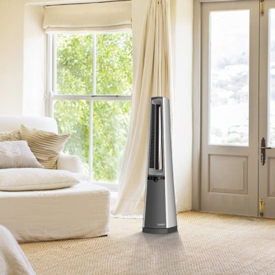 Lasko Bladeless Tower Fan with Remote Control Model AC615 in living room