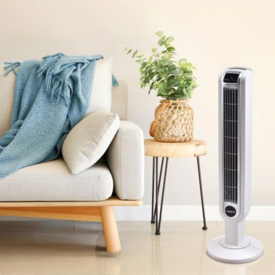 Lasko Tower Fan with Remote Control Model T36214 in living room